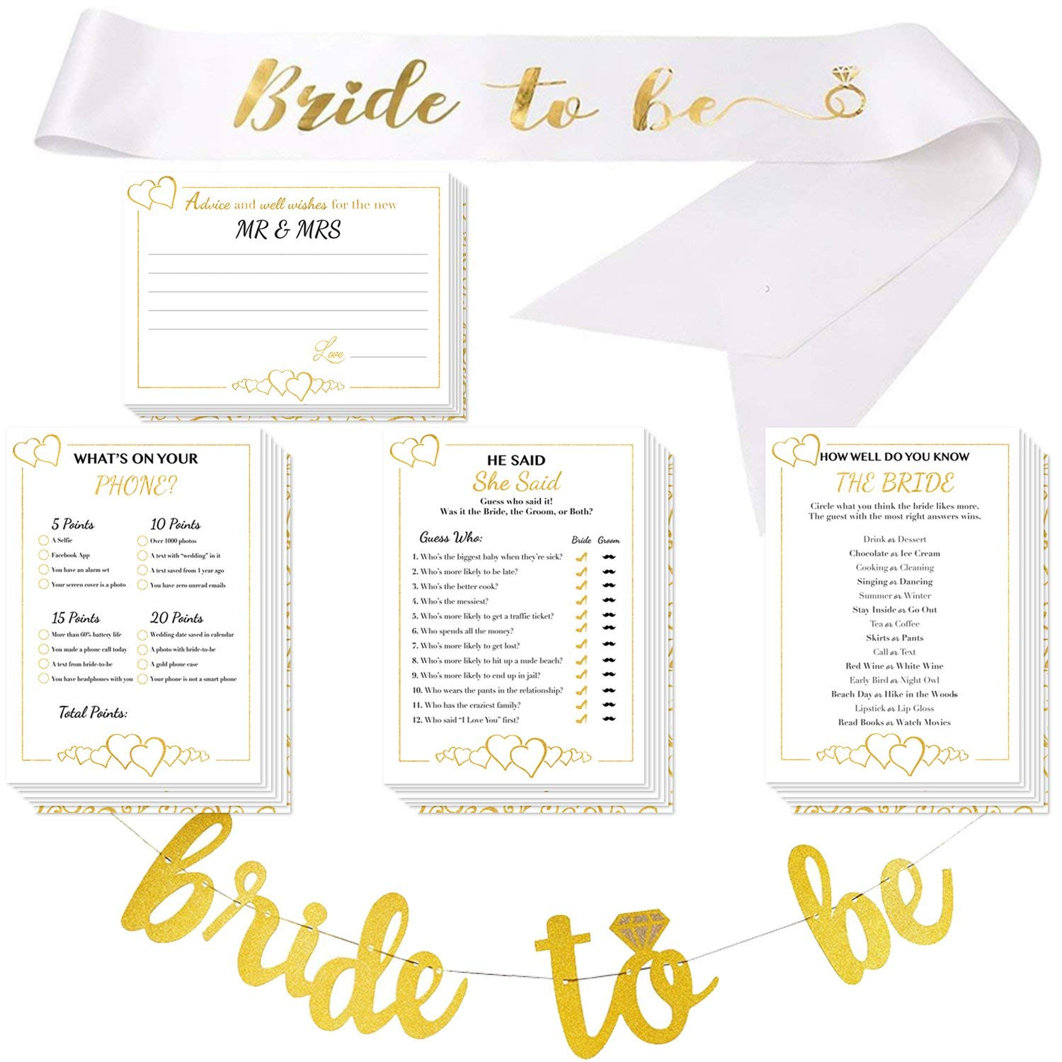 get quotations bridal shower games with bride to be gold banner bride to be sash