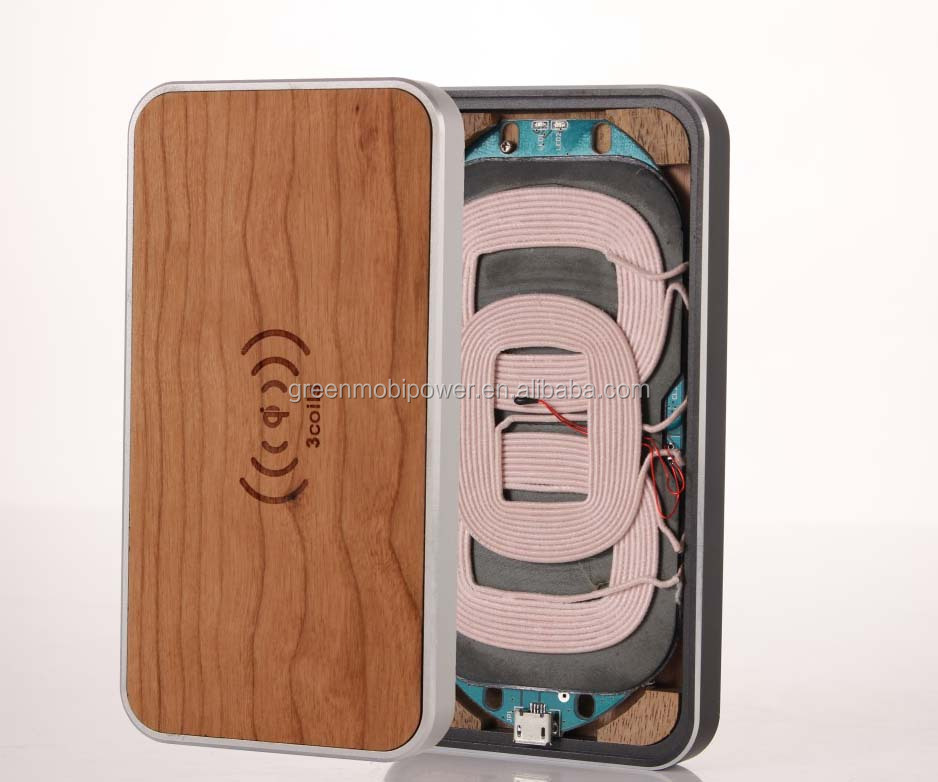 Three coil transmitter wooden wireless transmitter /qi wireless charger