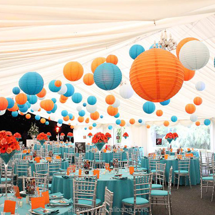 White Round Chinese Paper Lantern for Wedding Party Engagement Decoration