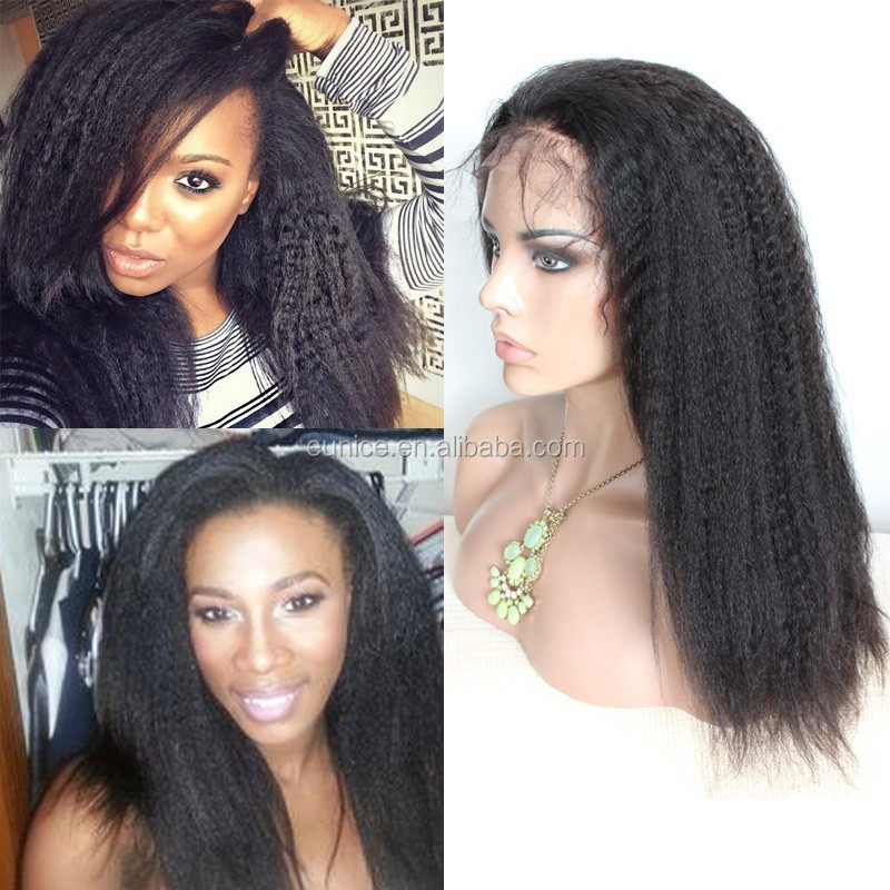 Yaki Straight 100% Virgin Indian Remy Full Lace Wig with Bangs/Indian Long Hair Wig