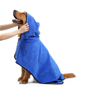 Custom bamboo terry microfiber dog cat pet bath bathrobe hooded towel