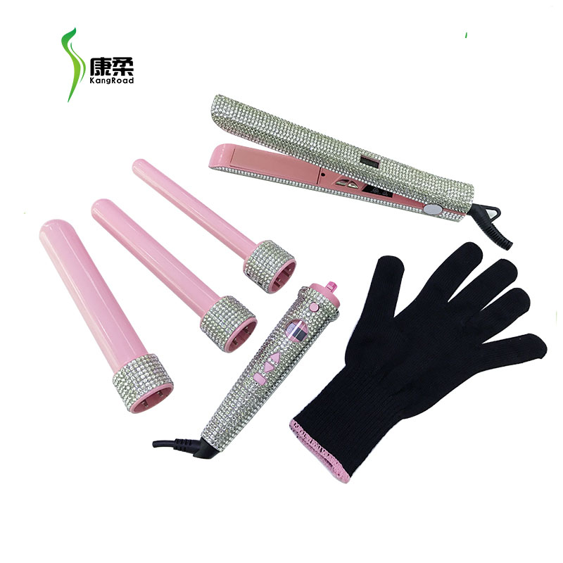 Crystals 4P Salon Hair Styling Curler Wand Ceramic Hot Tools Curling Iron With LCD Jewel