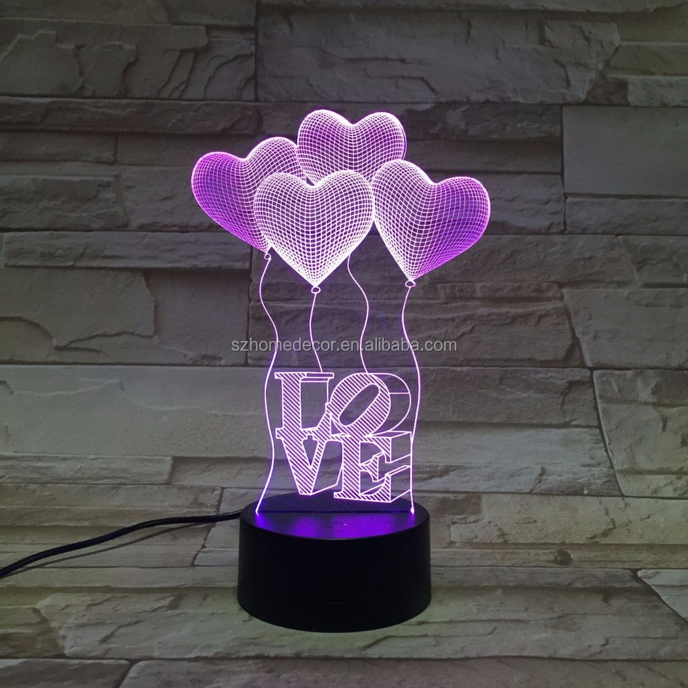 New design led music color changing Night lamp 3D Vision table light