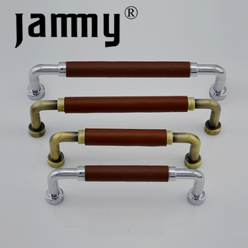 Kitchen Cabinet Handles And Pulls Zinc Alloy With Leather,Light Or Dark  Brown Leather Furniture Handles - Buy Light Or Dark Brown Leather Furniture  ...
