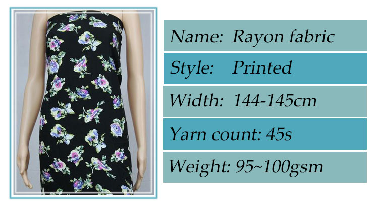Factory fresh order rayon fabric with High Quality 100% Viscose rayon challis  printed fabric