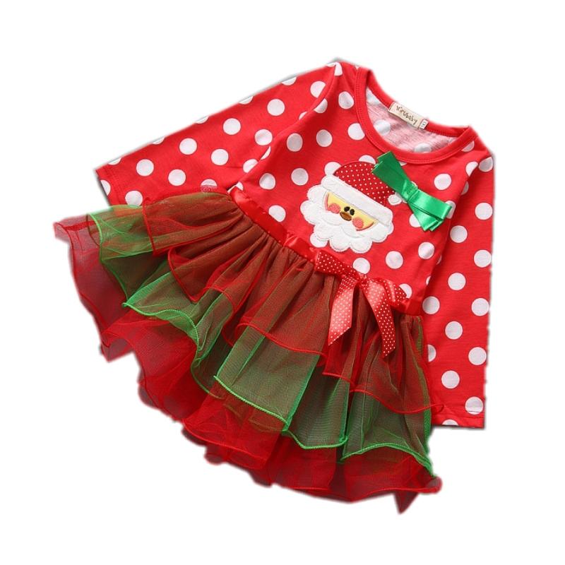 131cd97d9b75 Get Quotations · New Christmas Girl Dress Dot Santa Long Sleeve Baby Girls  Party Dresses Clothing Kids Princess Tutu
