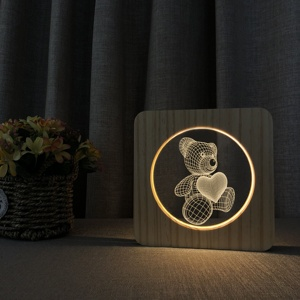 FS-A3094W wooden 3d table lamp High quality wooden promotional gifts
