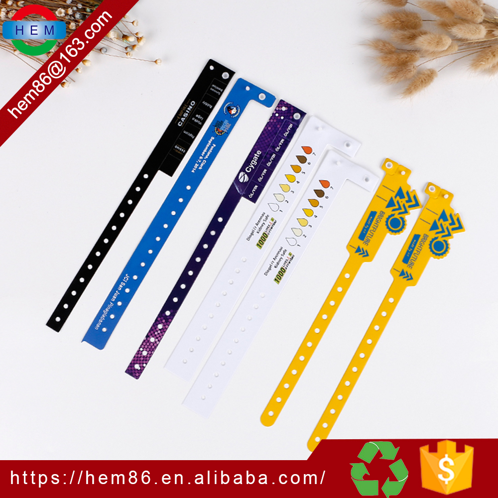 china disposable eco friendly events wristband adjustable snap closure, personalise customize recycled activity pvc wrist bands