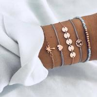 ZLD068 Yiwu Huilin Jewelry Simple wind coconut tree map love trend cool bracelet set of five for gift
