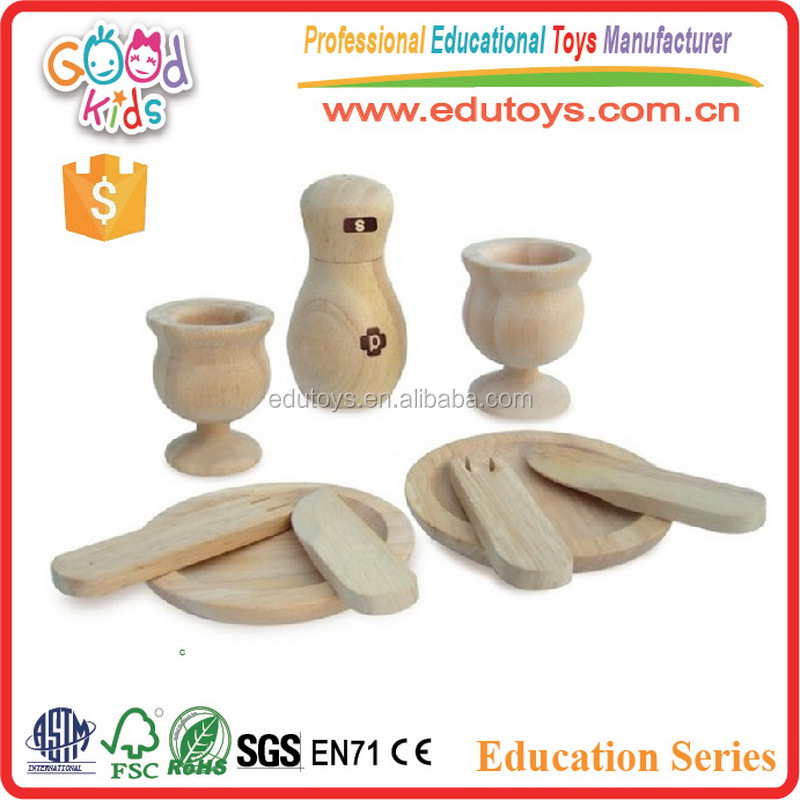 Children Cooking Role Play Set Wooden Dinnerware Toys for Dollhouse