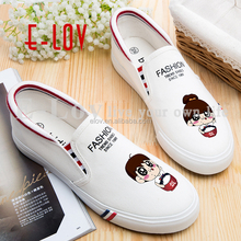 Fashion alibaba comfort girls loafers canvas graffiti shoes T-WHL201/T-WHL202/T-WHL203