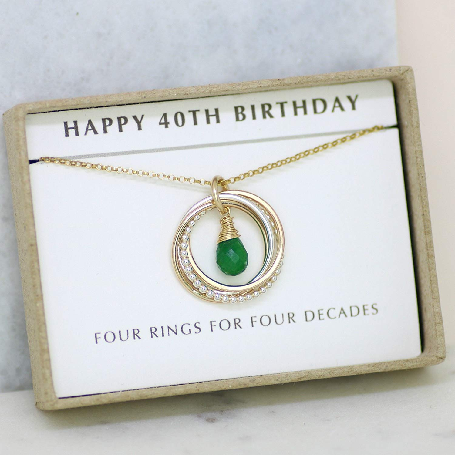 40th birthday gift, May birthstone necklace 40th, emerald necklace for 40th birthday, gift for daughter, wife, sister - Lilia