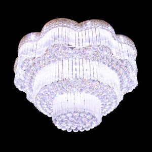 Hot Sale Flower Three Tiers Brilliant Crystal Flush Mount Chandelier Light For Hotel Lobby