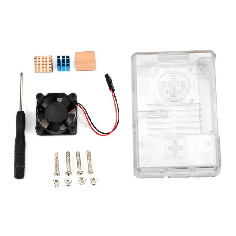 Aluminum Heatsink Cooler Kit For Raspberry Pi 3 Pi 2 B UE Clear ABS Case Box