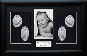 BabyRice New Baby Gift Handprint & Footprint Imprints Kit, Black Frame