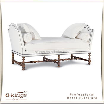 Luxury White Wood Hotel Guestroom Stool End Of Bed Bench Product On