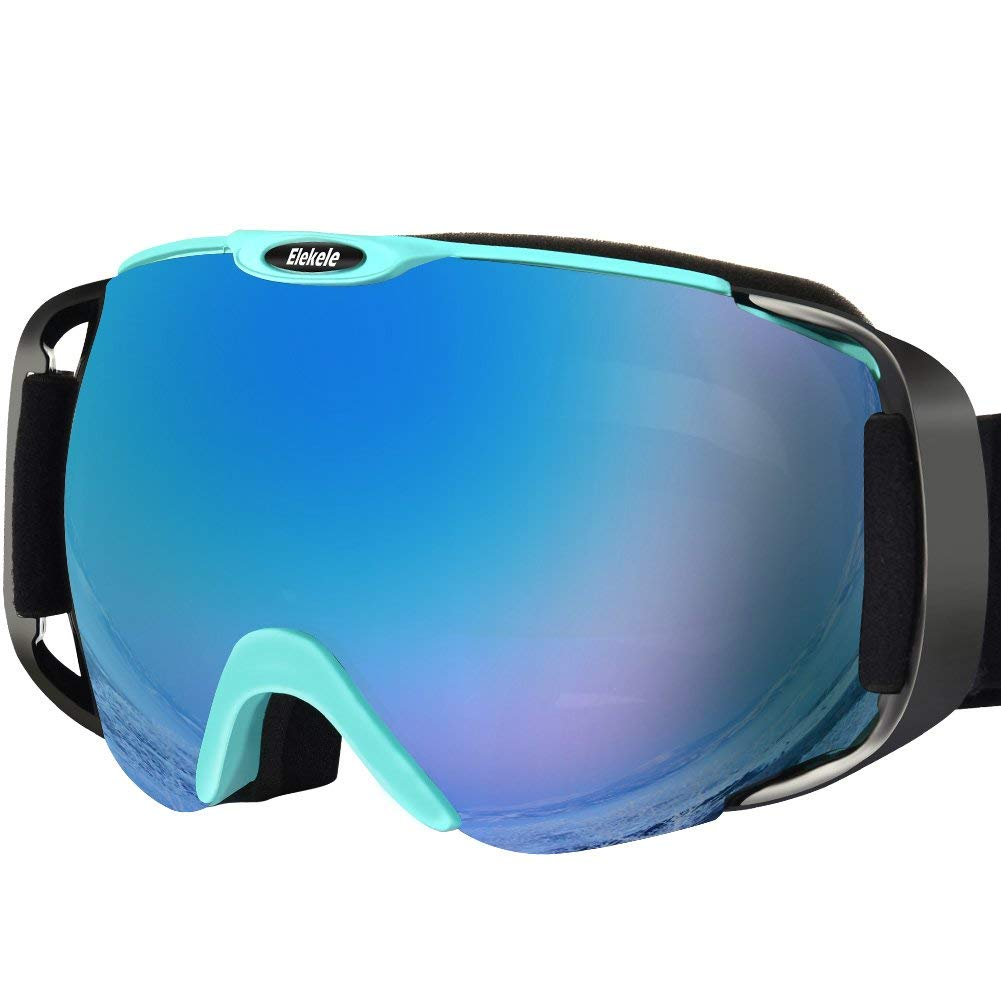 Ski Goggles, Elekele Winter Snow Sports Adjustable Snowboard Goggles, Anti-fog Anti-wind UV Protection Outdoor Activities OTG Protective Glasses with Three-layers Sponge Wrapped Frame