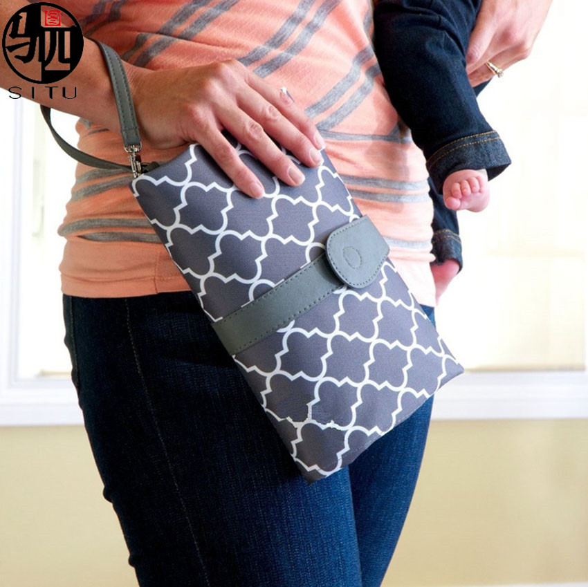 Portable Baby Diaper Changing Pad Mat Bag With Storage Pockets Waterproof Travel Changing Station Kit Diaper Clutch