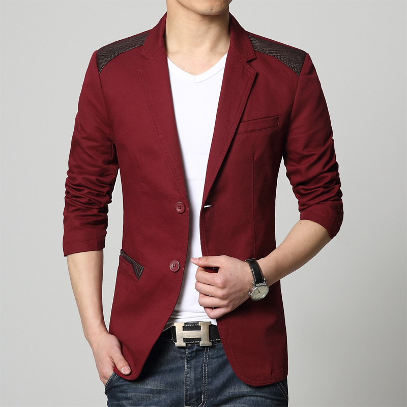327ad6a058b Men slim fit blazer jacket plus size 2015 Fall Fashion high-grade Pure  cotton splicing Retro blazer Men Skinny jacket coat boys