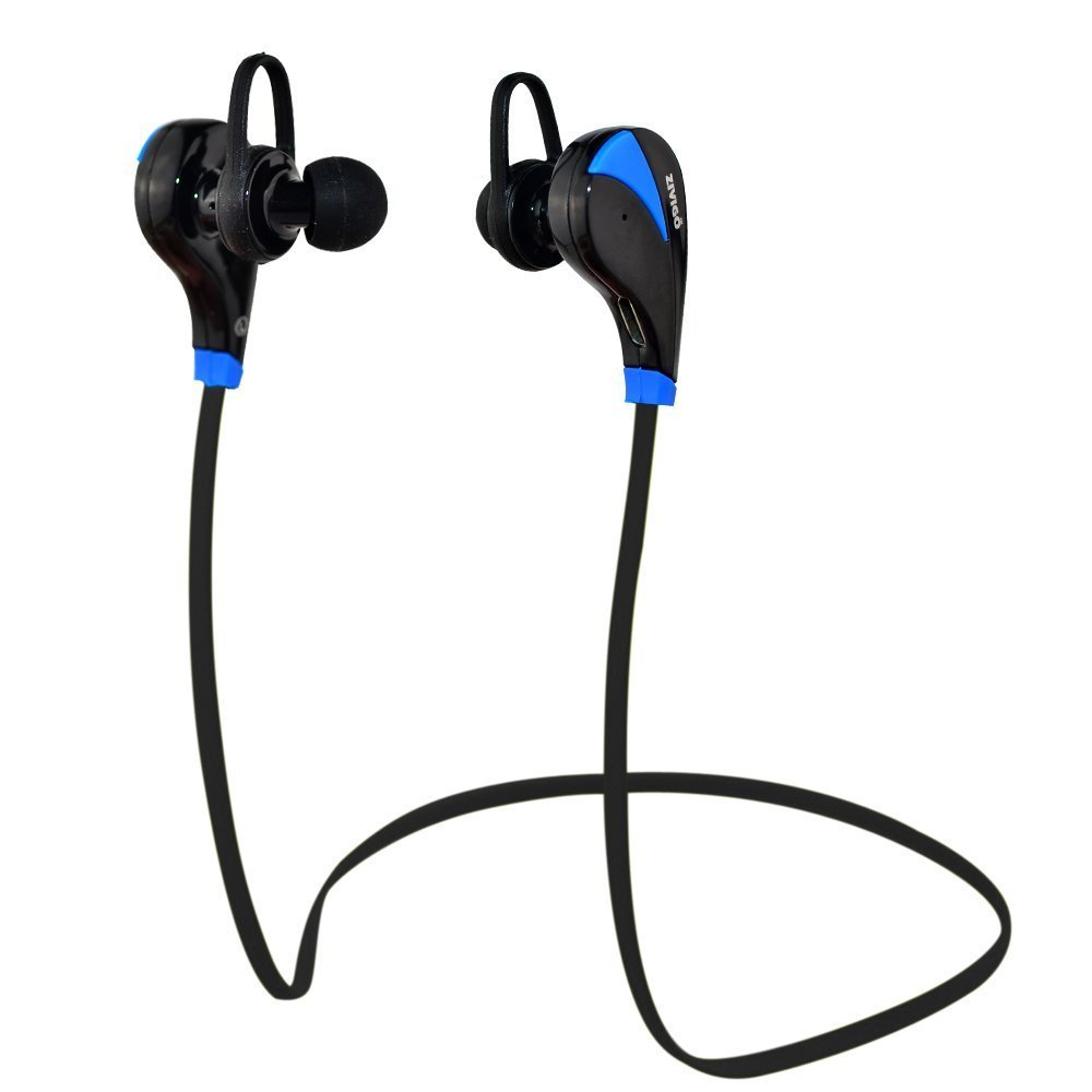 Bluetooth Headphones By Zivigo Lightweight Wireless Bluetooth Earbuds For Running, Bluetooth 4.0 with Aptx, Premium Sweat Proof Earbuds with Built in Microphone (Model ZV-600 Blue)