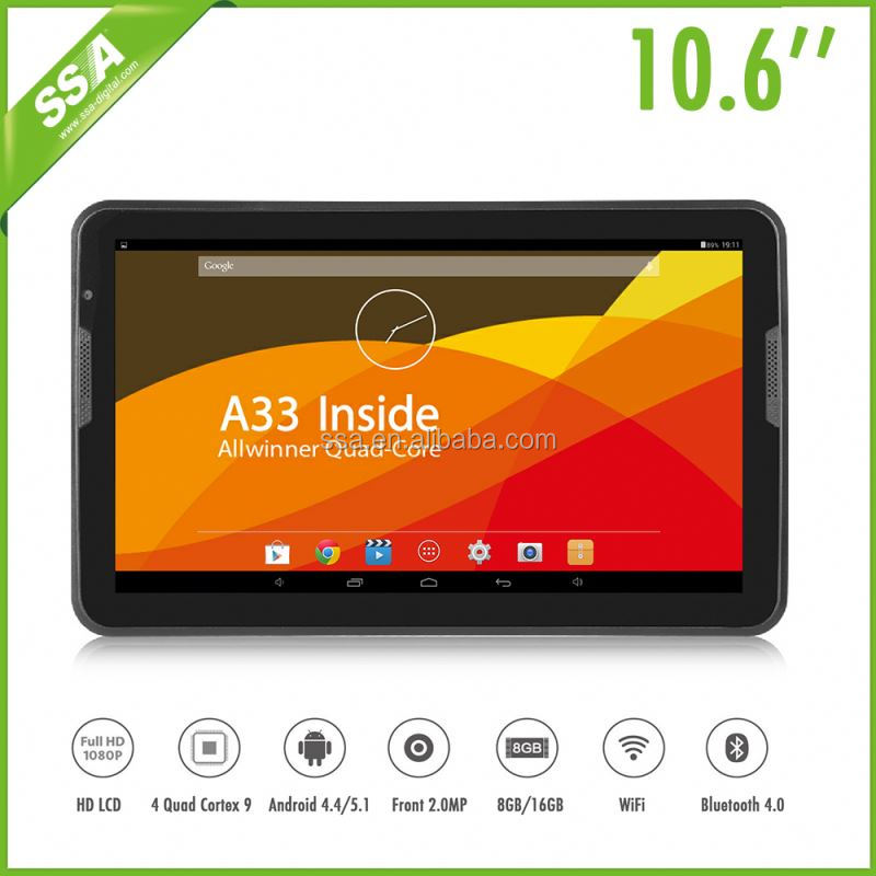 10.6 inch dual core Tablet PC with A33 1.6Ghz cpu and cameras IPSMI 1366x768 resolution wifi tablet (OS-A720)
