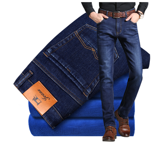 2019  Mens Winter Blue Fleece Jeans Lined Stretch Denim Warm Jeans For Men Designer Slim Fit Brand Pants Jeans Black Blue
