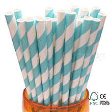 Cyang Sky Blue Stripes Colored Drinking Straws Paper, Baby Shower Wedding Summer Parties Cockpops and all Ocassions!