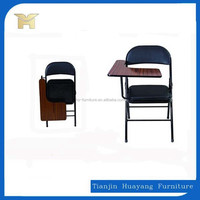 Affordable metal folding church chair , folding chair with writting pad
