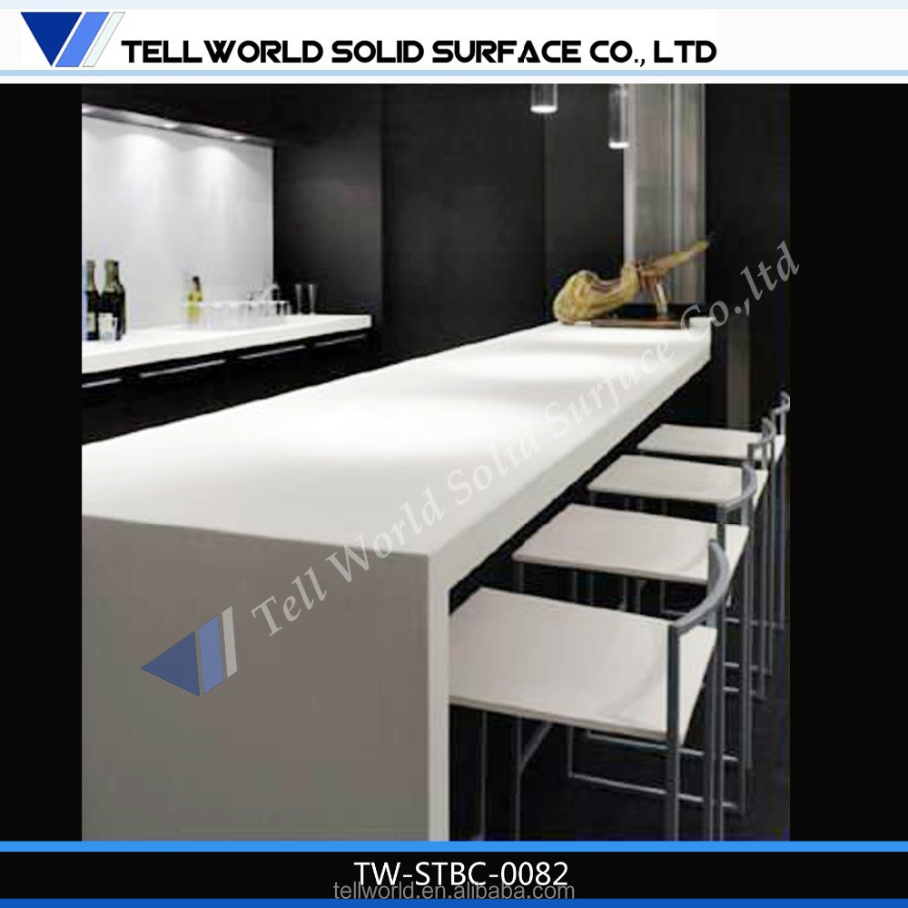 Acrylic Solid Surface Plain Bar Top Counter Used Commercial Bar Sale