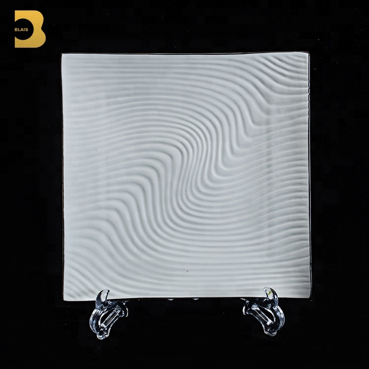 hotel restaurant crockery tableware square ripple white plates restaurant dinnerware