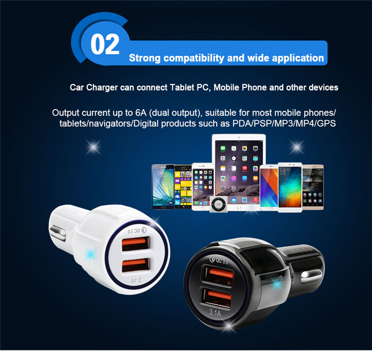 Unionup Cepat Charger Mobil 36 W 6A Dual USB QC 3.0 Charger Mobil untuk iPhone 8 X Samsung