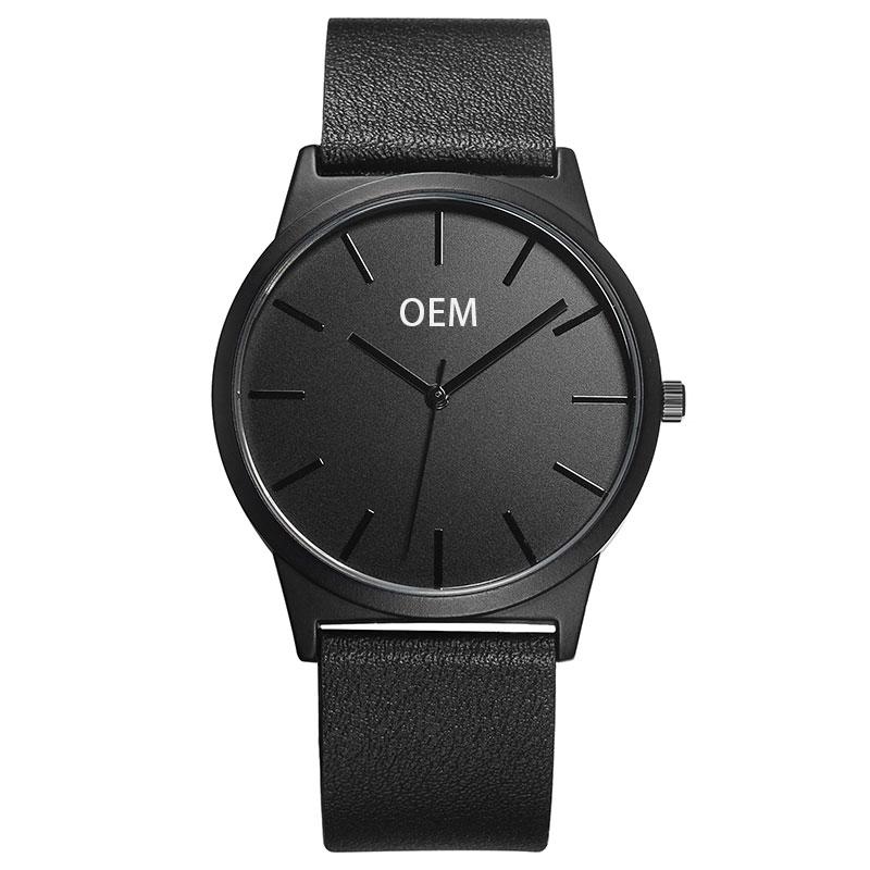 Logo Custom Men Watch Own Logo Thin Big Case Genuine Leather Watch Japan Movement Private Label Watch Men