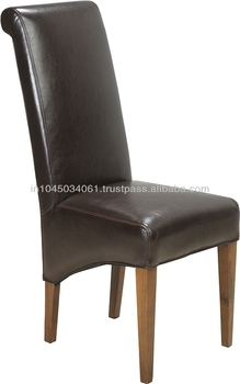 Leather Fabric Stuffed Long Back Dining Chair