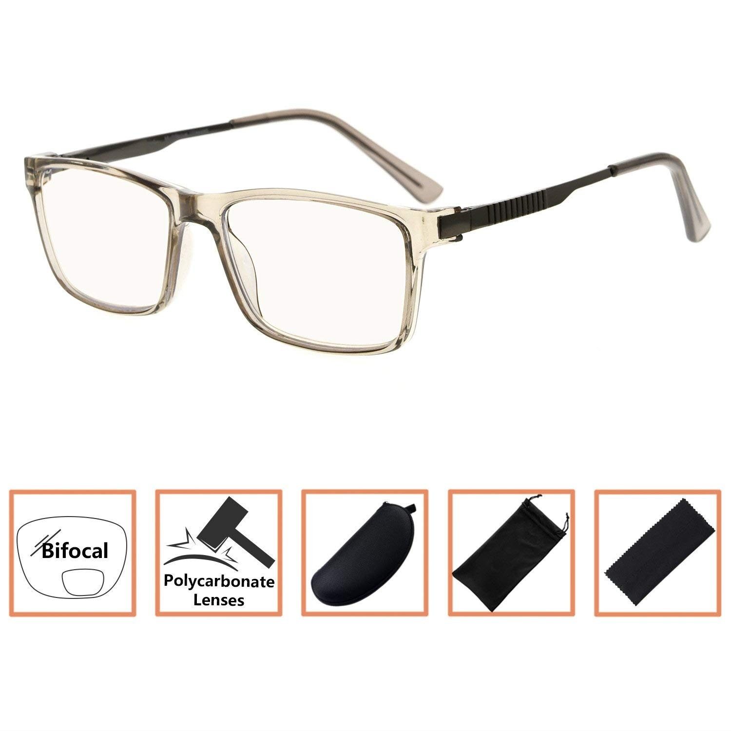 28259157e64d Get Quotations · Noline Bifocal Progressive Multifocus Glasses 3 Levels  Vision Reading Glasses Amber Tinted Blue Light Blocking