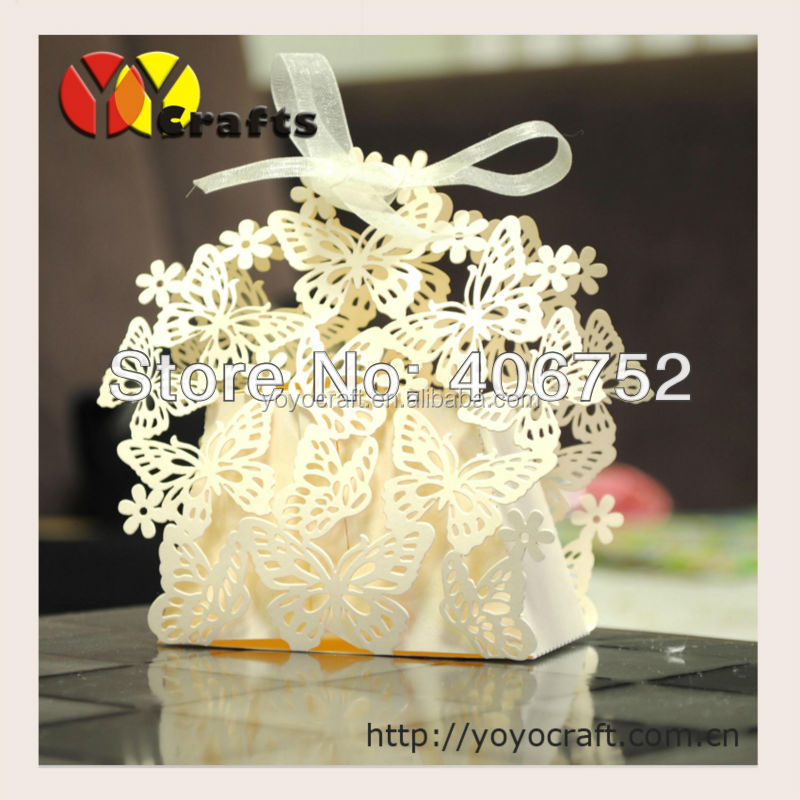 Free Ribbon Laser Cut Wedding Favour Boxes Butterfly Lace Wedding ...