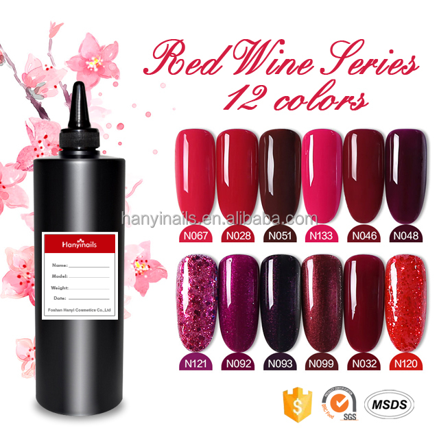 KG packing Red wine 12 colors natural resin no odour nail care uv gel manufacturer