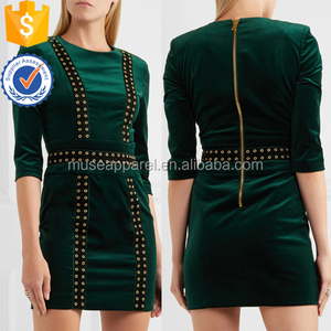 Dark Green Embellished Stretch Cotton Velvet Mini Dress OEM/ODM Women Apparel Clothing Garment Wholesaler Ropa Mujer