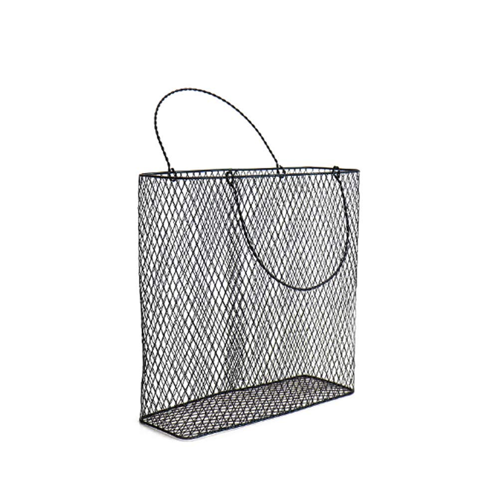Fitlyiee Portable Metal Wire Baskets Wall File Holder Magazine Mail Document Office Storage (L, Black)