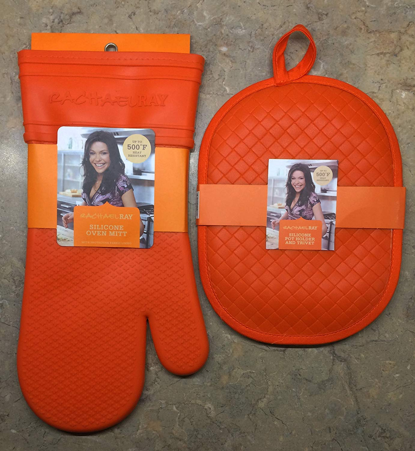 Rachael Ray Kitchen Essentials Set | Silicone Pot Holder And Trivet + Silicone Oven Mitt With Protective Fabric Lining | Up To 500 Degrees F Heat Resistant | Non Slip Grip (Orange)