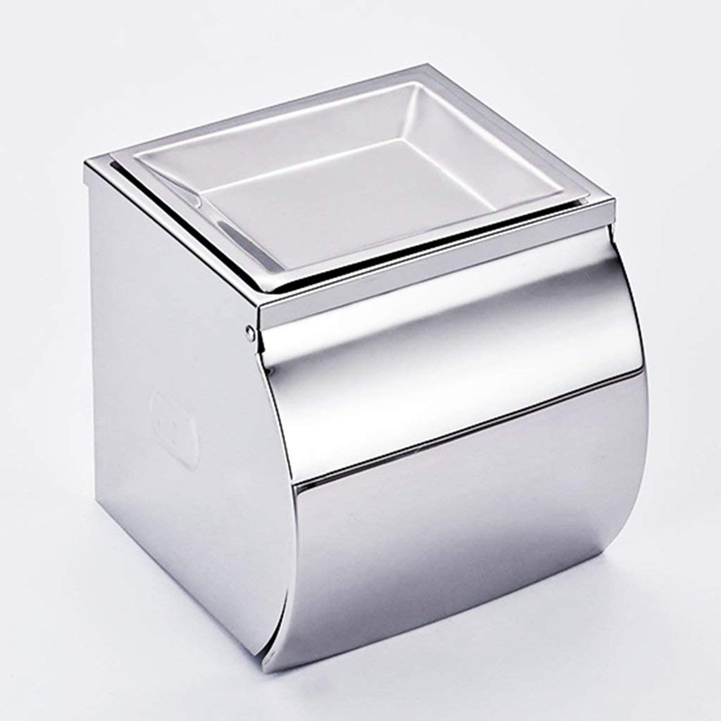Toilet Paper Holders punch-free tissue box Bathroom stainless steel toilet paper tray paper tray toilet hand towel tray paper towel holder (Color : Silver, Size : 13.51313.5cm)
