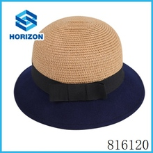 spring women wool felt hat with round top paper straw hat felt beanie custom