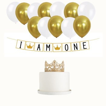 First Birthday Party Theme Decorations Balloons Banner Crown 1st