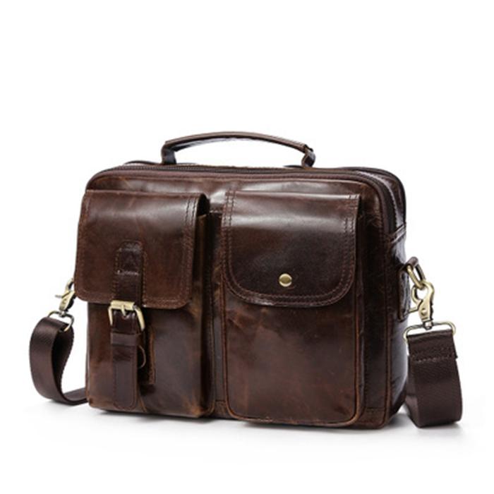 5eea31d79ddd Tiding Man Coffee Color Two Large Pocket Handbag Vintage Laptop Messenger  Bag Genuine Leather For Men