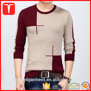 Winter korean fashion latest designs custom knit jacquard pullover men wool sweater
