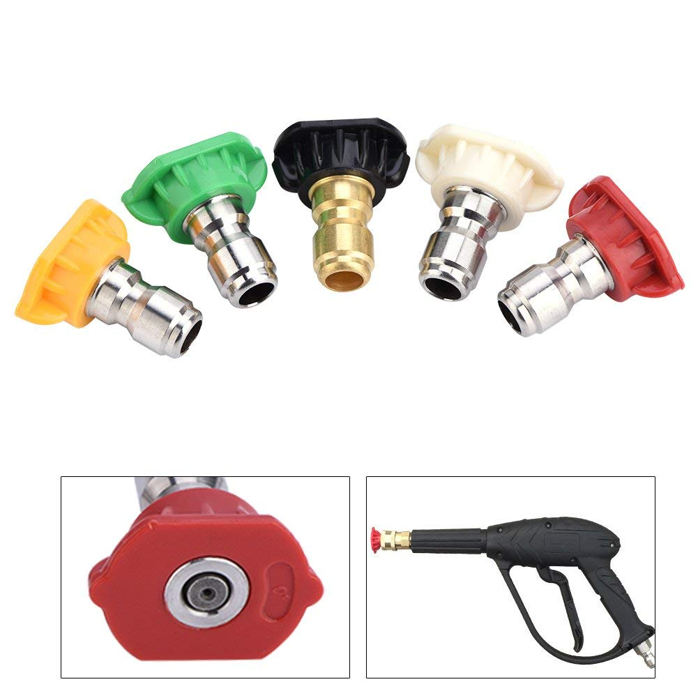Asixx Pressure Washer Nozzle, 5pcs New Pressure Washer Spray Nozzles Tip Set Variety Degrees For for Quick Connect High Pressure Washer up to 4000 PSI(5pcs)