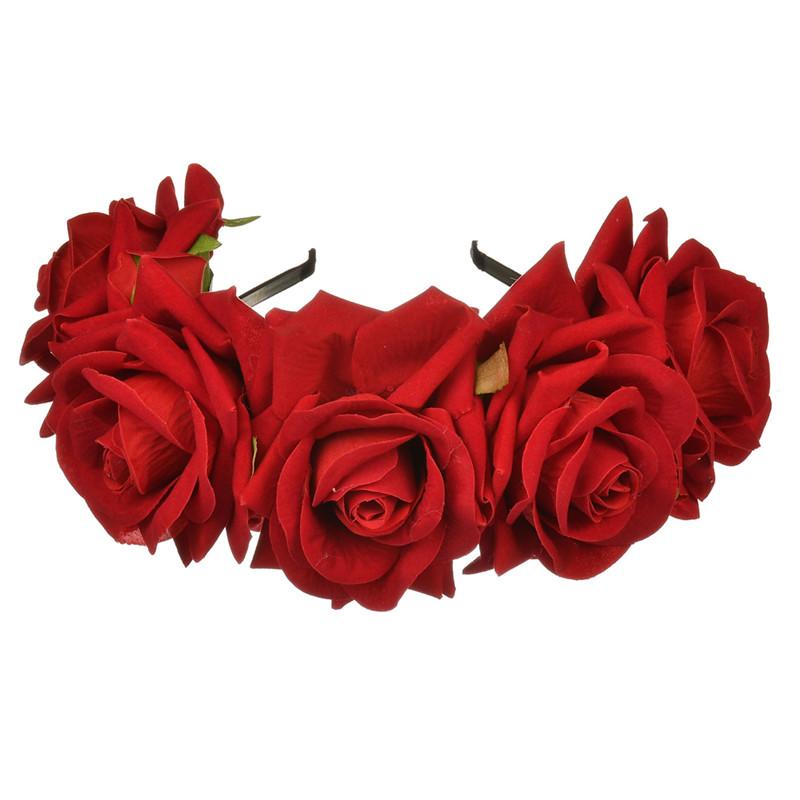 Accesorios de cabello para mujer, diadema de flores rosas, diademas de flores para boda, flores grandes