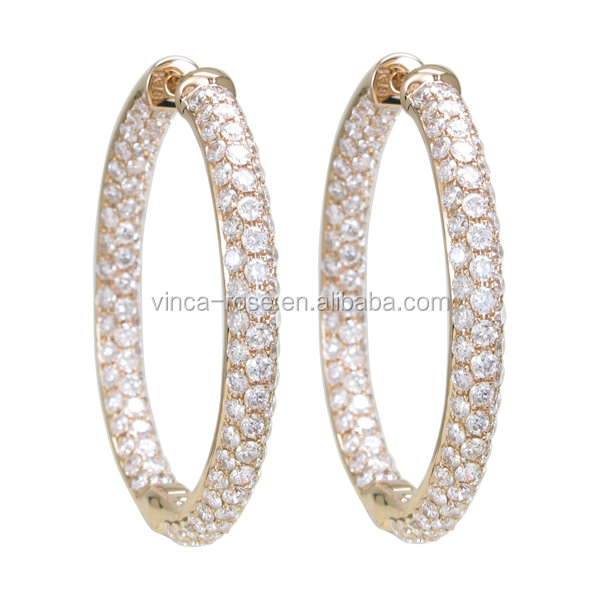 silver 925 jewelry circular gold plated earring models double sided hanging stud
