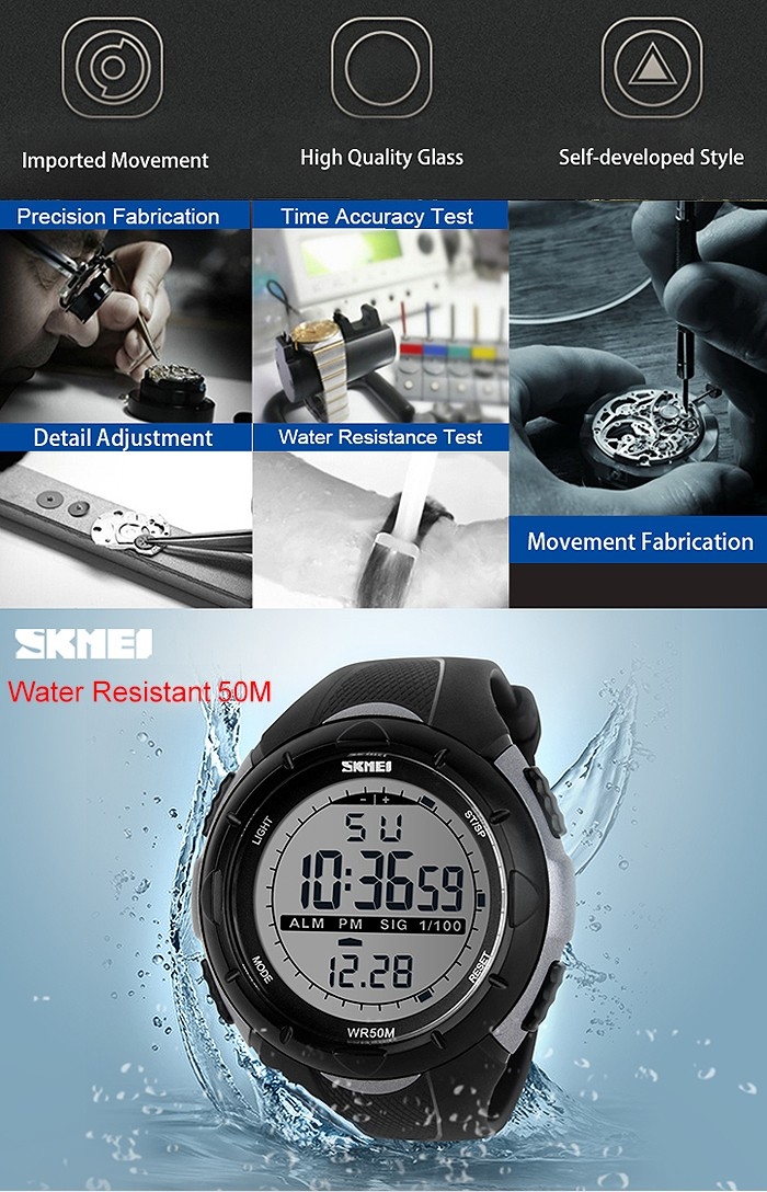 skmei 1245 clock stainless steel back to water resistant smart watch