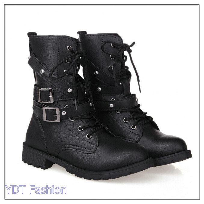 43b81c7c10c5 Get Quotations · Womens Girl's Motorcycle Boot Combat Flat Biker Slip On  Buckle Rivets Square Heel Women Shoes Free