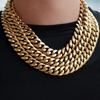 New Heavy Dubai 14k Real Gold Plated Stainless Steel Cuban Link Chain Wholesale 18k Italian Necklace Custom Design for Men